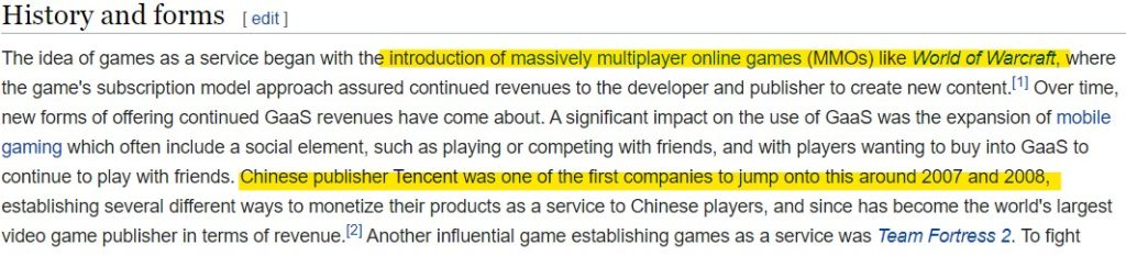 wikipedia defination for games as a service